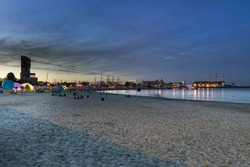 Marina in Gdynia city on the Baltic sea, during night time, Poland