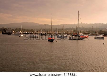 Marina in Monterey California at sunset