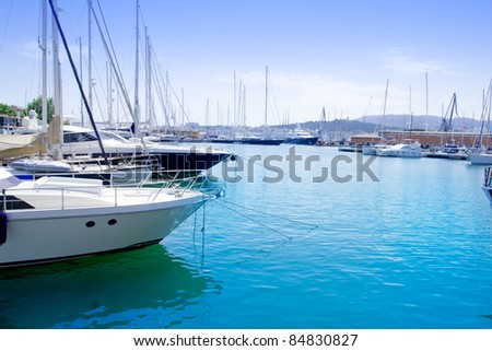 Marina in Palma de Mallorca city from Majorca Balearic island on Spain