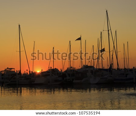 Marina silhouette at sunset