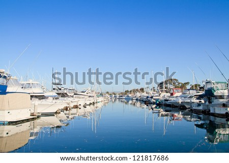 Marina with yachts and boats, logos and trademarks removed, San Diego, USA