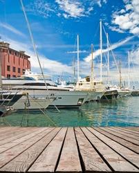 Marina with yachts in Genoa in Italy