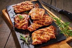 Marinated boneless tender pork chops, close up