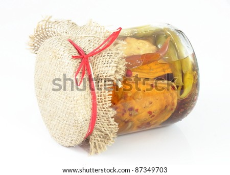 Marinated cheese and vegetables