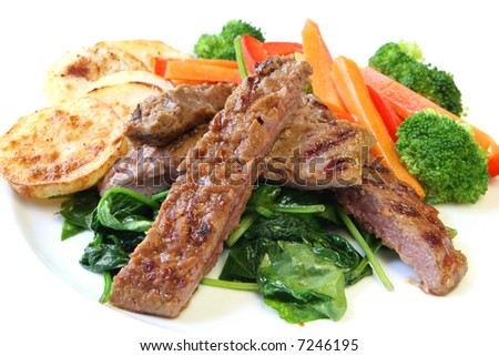 Marinated lamb steak, with wilted baby spinach, scallop potatoes, broccoli, carrot and red bell pepper.  Close-up, on white plate.
