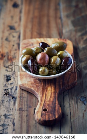 Marinated olives in a small dish