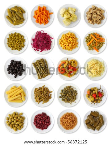 Marinated vegetables collection isolated on white background #56372125