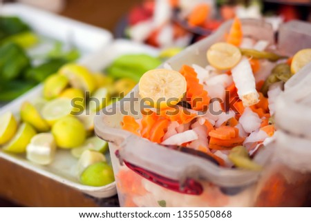 Marinated vegetables in plates on the table. Egyptian food