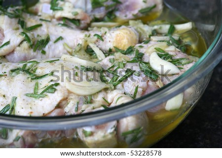 Marinating Lemon Chicken in a Clear Bowl
