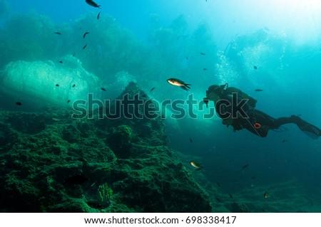 Marine biologist inspecting coralline habitat in Gokova Bay Turkey, August 2017. #698338417