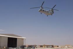 Marine Corps CH-46 Sea Knight landing at MCAS al Asad, Iraq. May 2004