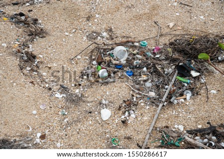 Marine debris or marine litter on the beach Thailand #1550286617