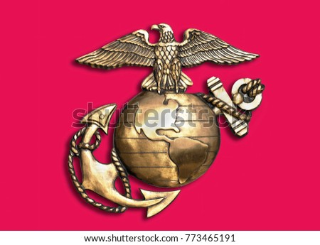 Marine eagle,globe and anchor brass emblem.