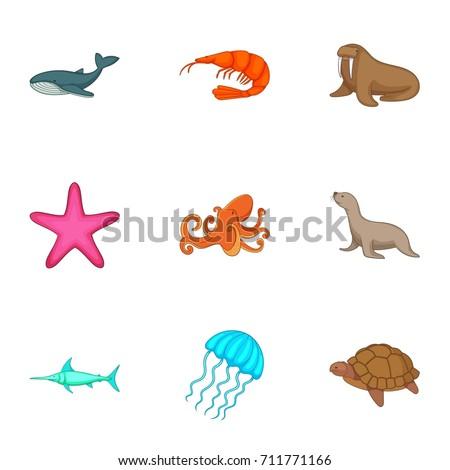Marine fauna icons set. Cartoon set of 9 marine fauna  icons for web isolated on white background