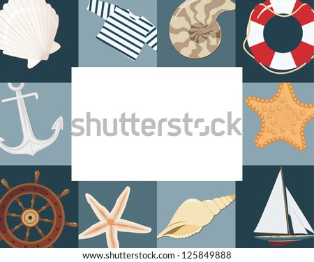 Marine framework. Raster version, vector file available in portfolio.