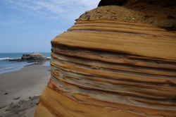 Marine geological layers exposed by wind erosion on the coast of Talara in Piura-PERU