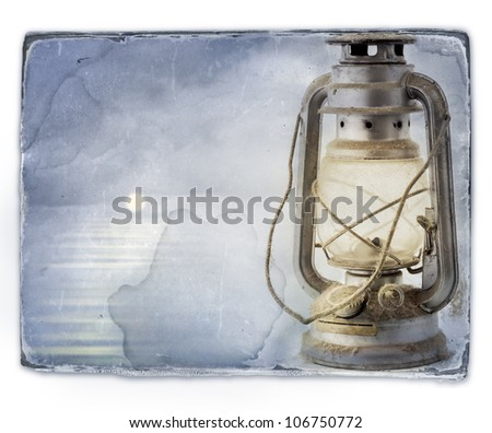 Marine landscape and ships lantern. Old paper texture background with clipping paths