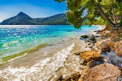 Marine landscape, Mediterranean Sea Spain, beautiful seaside of Platja de Formentor, beach Majorca.