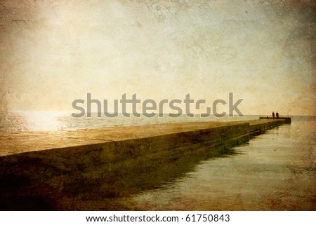 Marine landscape with a pier on the grunge background