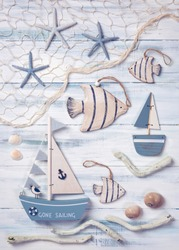 Marine life decoration on a wooden background. Top view.