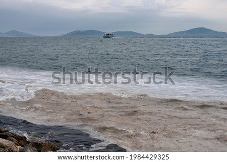 Marine mucilage, sometimes referred to as sea snot due to its viscous texture in Istanbul remains a dire threat for the Marmara Sea. TURKEY Photo stock ©