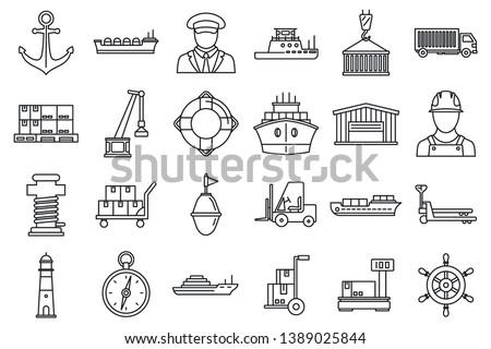 Marine port transport icons set. Outline set of marine port transport icons for web design isolated on white background