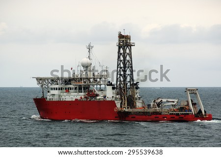 marine research vessel-scout oil fields with a small rig
