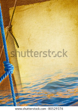 Marine rope for mooring yachts, tied by knot against the old textured paper background. Blue rope line with knot of the sea - vintage nautical background. Marine design with elements of boating.