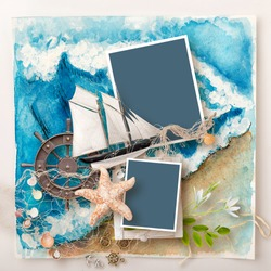 marine scrapbook frame on blue watercolor painted sea background. Sea mood memory page for family album about vacation. Marine style frame with ship, sea srars, shells, fishnet and helm. Sea memories