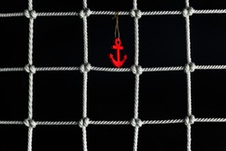 Marine seamless background with red anchor, intersecting lines and ornament of knots.