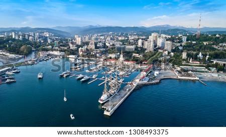 Marine station - station complex Port of Sochi in the central region of Sochi, Krasnodar Krai, Russia. Aerial view