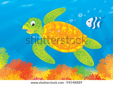 Marine turtle and striped coral fish swimming over a colorful coral reef
