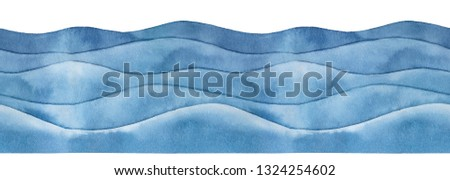 Marine waves watercolour seamless border. Decorative horizontal lines, dark blue colour, beautiful grungy texture. Hand drawn water color on white, isolated abstract element for design decoration. Сток-фото ©