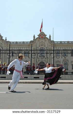 Marinera dancers in front of the government palace in Lima Peru travel