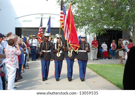 Marines participating in Memorial Day ceremony