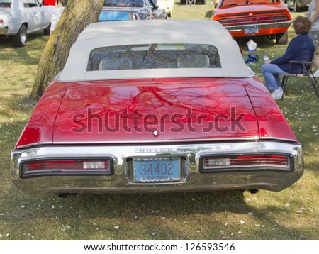 MARION, WI - SEPTEMBER 16: Back of 1972 Red Buick Skylark car at the 3rd Annual Not Just Another Car Show on September 16, 2012 in Marion, Wisconsin.