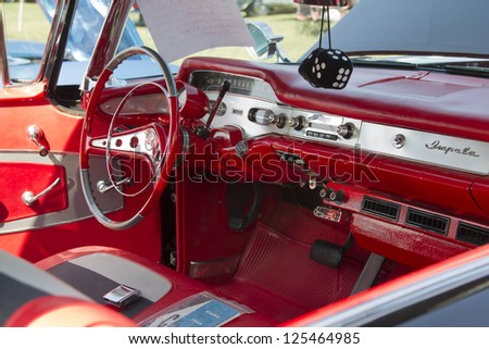 MARION, WI - SEPTEMBER 16: Interior of 1958 black Chevy Impala car at the 3rd Annual Not Just Another Car Show on September 16, 2012 in Marion, Wisconsin.