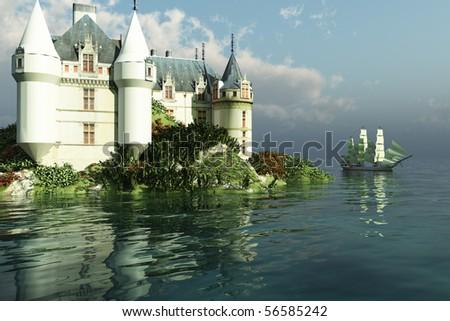 MARITIME - A tall clipper ship sails past a grand castle. - stock photo
