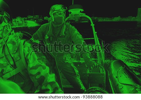 Maritime commando – soldier. The Marine special forces to enter the ship to its search and hostage rescue – exercises. On the action. View from night vision.