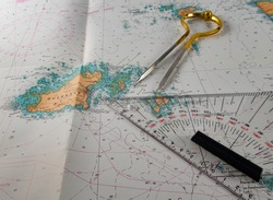 Maritime map of Guernsey with brass maritime circle