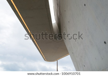 Maritime station of Salerno, Italy, designed by famous architect Zaha Hadid. Detail view of the little concrete tower accessible from a long ramp with its futuristic shape located at the sea front