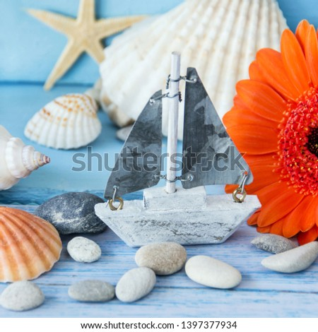 Maritime summertime beach decoration and flowers #1397377934