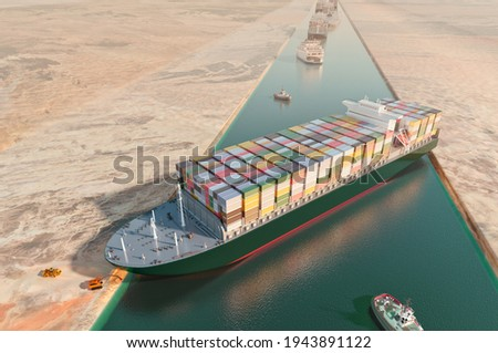 Maritime traffic jam. Container cargo ship run aground and stuck in Suez Canal, blocking world's busiest waterway. Ever given grounding 3D illustration. Cargo vessels traffic jam grows in Suez canal