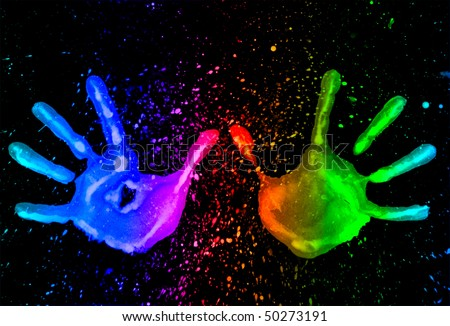 mark pairs of hands, bright colors