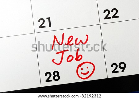 Mark the calendar to go to a new job - stock photo