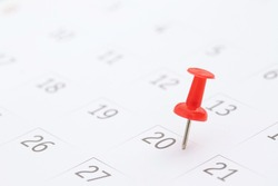 mark the event day with a pin red. Thumb tack in calendar concept for  timeline organize activity schedule, appointment reminder. planning business meeting or travel holiday planning concept.