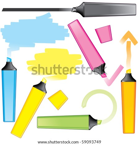 Marker drawing elements for text or design: lines, speech bubbles, arrows...(vector id=59090125)