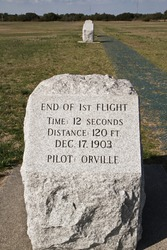 Markers at the Wright Brothers National Monument