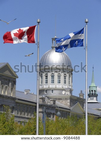 Market Bonsecours between flags