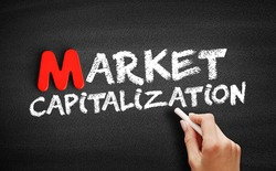 Market capitalization text on blackboard, business concept background